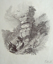 Antique drawing. Two mountain climbers between rocks. Signed in monogram