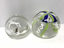 LOT OF 2 american studio GLASS PAPERWEIGHTS signed sphere hand blown ROLLIN KARG