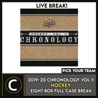 2019-20 UPPER DECK CHRONOLOGY VOL 2 8 BOX CASE BREAK #H1012 - PICK YOUR TEAM