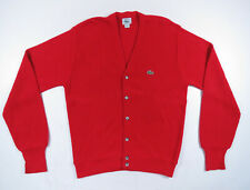 Vintage 80s Izod Lacoste Red Acrylic Knit USA Made Cardigan Sweater Jumper M