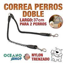 CORREA DOBLE PARA DOS PERROS PERRO DE NYLON TRENZADO 37cm Gran Calidad L62 2940
