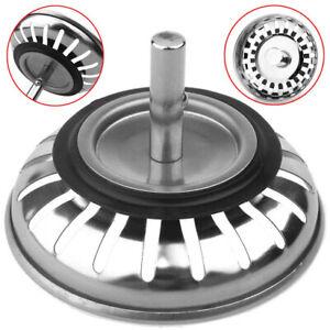 Premium Stainless Steel Replacement Kitchen Sink Drain Waste Plug Strainer 84mm