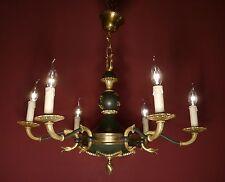 schöner alter Empire Kronleuchter Messing Lackierung Verzierungen antik Lampe