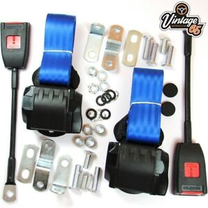 Classic Mini Front Pair Fully Automatic Inertia Blue Seat Belt Kits E Approved