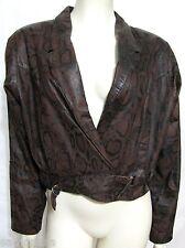 VTG Bermans Genuine Leather Brown Snake Print Biker Jacket Women L 12 Gator Skin
