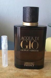 Aqua di Gio Absolu Instinct 3 ml atomizer SEE DESCRIPTION NOT FULL BOTTLE*