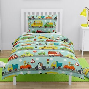 Cars Animals Toddler Bedding Set Junior Duvet Cover & Pillowcase Boys 150x120 cm