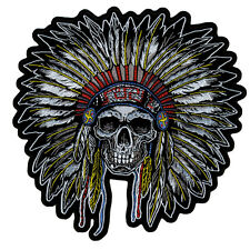 "Motorcycle Biker Uniform Back Patch 10"" X 10"" Indian Headress Skull Head #Xl"