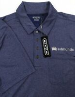 Edmunds Auto Car Ogio Men's Large Polo Shirt Blue Solid Short Sleeve New