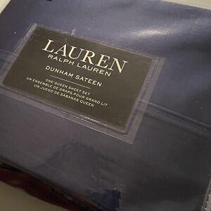 Ralph Lauren QUEEN 4pc Sheet Set Dunham Sateen Solid CADET BLUE 300 TC Free Ship