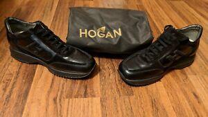 RARE!! Hogan Sneakers Shoes Men Size (10 US) 9 UK Black Suede Leather Lace Up