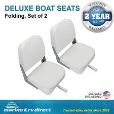 (2) Deluxe Folding Marine Boat Seats-WHITE