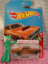 '68 DODGE DART #249✰Orange; black/yellow flame✰FLAMES✰2017 i Hot Wheels case L
