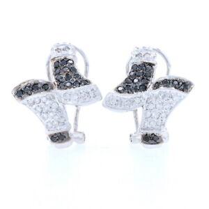 Black & White Diamond Bypass Earrings - 14k Gold Pierced Round Brilliant .30ctw