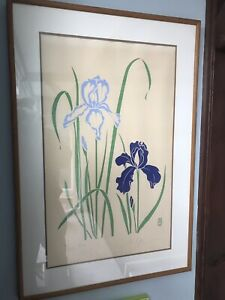 P. CHU SIGNED WOODBLOCK LITHOGRAPH ART LIMITED PRINT SIGNED & NUMBERED FLOWERS