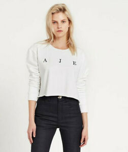 NWT*Aje*Ladies Cropped Crew Jumper Cotton  Sweatshirt  Knit Pullover Tops XXS-6