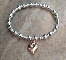 Rose Gold Heart Charm Stretch Bracelet Silver Beaded