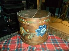 Antique OSCEOLA, WI Primitive Round Wood FOLK ART PAINTED Cheese Box W/ Lid