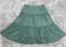 Soft Surroundings Women's 3X Green Peasant Gypsy Skirt Tiered Balls Boho 26/28