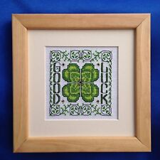"Framed Complete Cross Stitch Picture - Joan Elliott's Designs - ""Good Luck"""