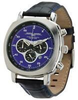 Jorg Gray 3500 Chronograph, Royal Blue Layered Dial Black Leather Strap New NIB