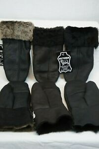 REAL GENUINE SHEEPSKIN SHEARLING LEATHER MITTENS UNISEX Fur Winter 3 COLOR S-2XL