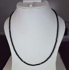 100% Natural Black Spinel 3 mm Rondelle Faceted 13'' Beads Choker Neckalce Pe26