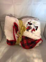"NEW Disney Store 50"" x 60"" MICKEY MINNIE FLEECE THROW Blanket Holiday Christmas"