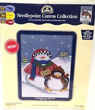 "DMC Needlepoint Canvas Christmas SNOWMAN & PENGUIN 7"" x 9"""