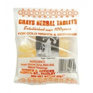 30x Gray's Herbal Tablets - Cough Sweets for throat and Chest 60g Bags Free P&P