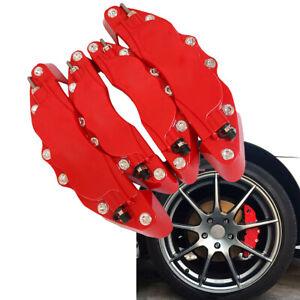 3D Caliper Guard Protector Covers Red Car Disc Brake Front & Rear Kits 4Pcs