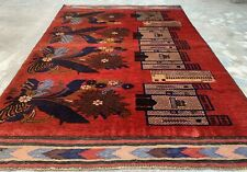 New listing Hand Knotted Vintage Afghan Aksi Balouch Pictorial Wool Area Rug 6 x 4 Ft