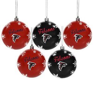 Atlanta Falcons Shatterproof BALLS Christmas Tree Holiday Ornaments Set 5 pack