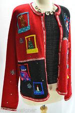 VTG Karen scott Cardigan Ugly Chirstmas Embroidered Sequin Bead Trim Sweater XL