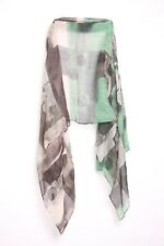 Abstract Jade Green/ Shadow Grey Rose Graphic Print Statement Scarf (S10)