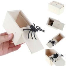 Funny Scare Box Wooden Prank Spider Hidden in Case Joke Gag Toy Halloween Gift M