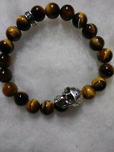 King Baby Studio Silver Day of the Dead Skull Tiger-Eye Beaded Men Bracelet