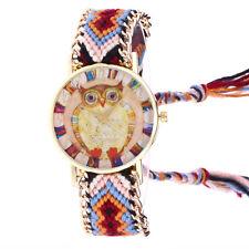 Women Owl Knitted Weaved Rope Bracelet Tassels Bangle Quartz Wrist Watch