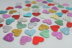 100 SPARKLY HEARTS SMALL CARD MAKING CRAFT EMBELLISHMENTS SCRAPBOOK 1.5cm