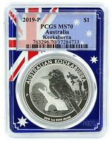 2019 Australia 1oz Silver Koookaburra PCGS MS70 - Flag Frame
