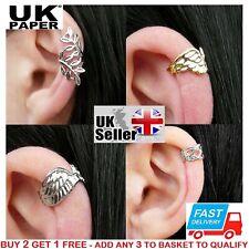UK NEW SILVER / GOLD LEAF WING EAR CUFF CLIP WRAP EARRING PUNK STUD GOTHIC CROSS