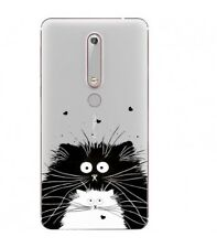 Coque Nokia 6.1 2018 Chat coeur love noir blanc moustache transparent