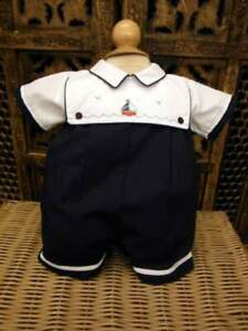 Will'beth NWT Infant Baby Boy Nautical Romper Navy White Sailboat 6m