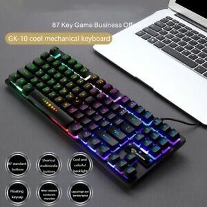 New Gaming Keyboard GK-10 87 Keys Mechanical RGB Backlit for PC Gamer Computer