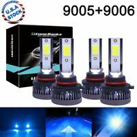 9005+9006 LED Combo Mini Headlights Bulbs Kit High Low Beam 8000K Ice Blue 80W