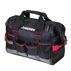 Husky Tool Bag 16-Pocket Lockable Zippered-Top Water Resistant Fabric Black