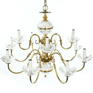 Vintage Solid Brass 2 Tier 12 Arm w/Glass Accents Williamsburg Style Chandelier