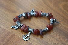 Brown Stone Silver with charms stretchy bracelet Bead approx 1.5 cm hardly worn