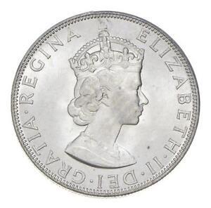Choice BU Unc 1964 Bermuda 1 Crown Silver Coin - Mint State *806