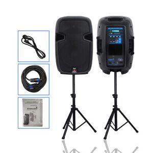 "12"" Dual 2-Way 2000 W Powered PA Speaker System Portable DJ Speaker W/ Bluetooth"